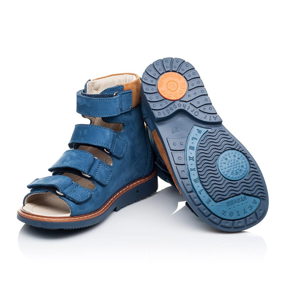 Детские ортопедические босоножки (с высоким берцем) Woopy Orthopedic синие для мальчиков натуральный нубук размер 26-33 (3299) Фото 2