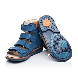 Детские ортопедические босоножки (с высоким берцем) Woopy Orthopedic синие для мальчиков натуральный нубук размер - (3299) Фото 2