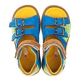 Детские ортопедические босоножки Woopy Orthopedic голубые, разноцветные для мальчиков натуральный нубук размер 18-21 (3300) Фото 5