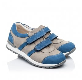 Детские кроссовки Woopy Orthopedic серые, синие для мальчиков натуральный нубук размер 39-39 (3304) Фото 1