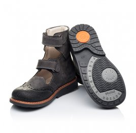 Детские ортопедические туфли (с высоким берцем) Woopy Orthopedic серые для мальчиков натуральная кожа размер - (3307) Фото 2