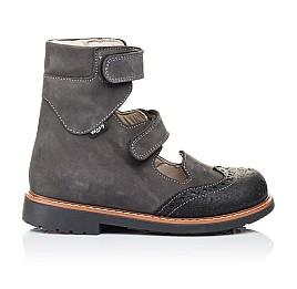 Детские ортопедические туфли (с высоким берцем) Woopy Orthopedic серые для мальчиков натуральная кожа размер - (3307) Фото 4