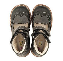 Детские ортопедические туфли (с высоким берцем) Woopy Orthopedic серые для мальчиков натуральная кожа размер - (3307) Фото 5