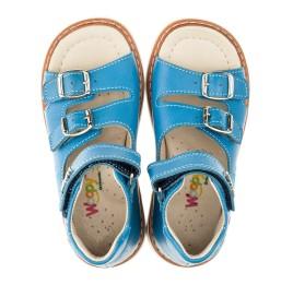 Детские ортопедические босоножки Woopy Orthopedic голубые для мальчиков натуральная кожа размер 21-21 (3310) Фото 6