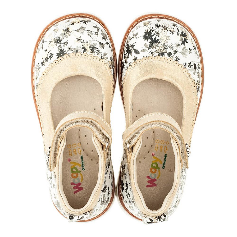 Детские туфли ортопедические Woopy Orthopedic белые, золотые для девочек натуральная кожа размер 20-30 (3315) Фото 5