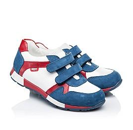Детские кроссовки Woopy Orthopedic синие, белые, красные для мальчиков натуральная кожа и нубук размер 18-18 (3317) Фото 1