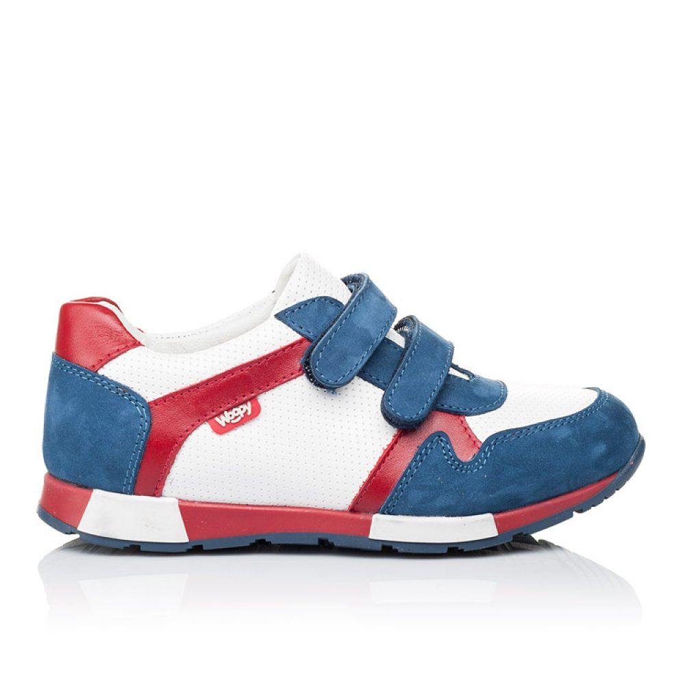 Детские кроссовки Woopy Orthopedic синие, белые, красные для мальчиков натуральная кожа и нубук размер 18-30 (3317) Фото 4
