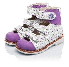 Детские ортопедические туфли (с высоким берцем) Woopy Orthopedic сиреневые, разноцветные для девочек натуральная кожа и нубук размер 19-27 (3328) Фото 3