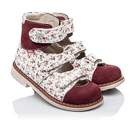 Детские ортопедические туфли (с высоким берцем) Woopy Orthopedic бордовые для девочек натуральная лаковая кожа и нубук размер 26-28 (3330) Фото 1