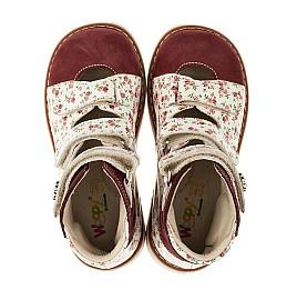 Детские ортопедические туфли (с высоким берцем) Woopy Orthopedic бордовые для девочек натуральная лаковая кожа и нубук размер 26-28 (3330) Фото 5