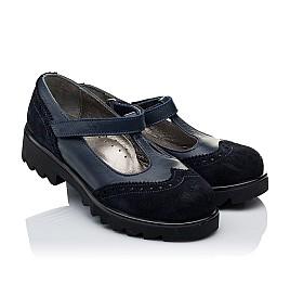 Детские туфли Woopy Orthopedic темно-синие для девочек натуральная кожа и замша размер 31-40 (3336) Фото 1