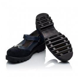 Детские туфли Woopy Orthopedic темно-синие для девочек натуральная кожа и замша размер 31-40 (3336) Фото 2