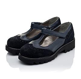 Детские туфли Woopy Orthopedic темно-синие для девочек натуральная кожа и замша размер 31-40 (3336) Фото 3