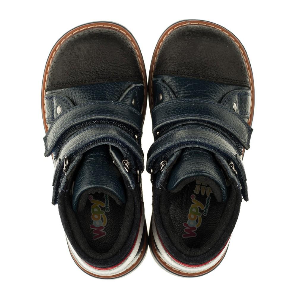 Детские демисезонные ботинки Woopy Orthopedic темно-синие для мальчиков натуральная кожа размер 18-30 (3339) Фото 5