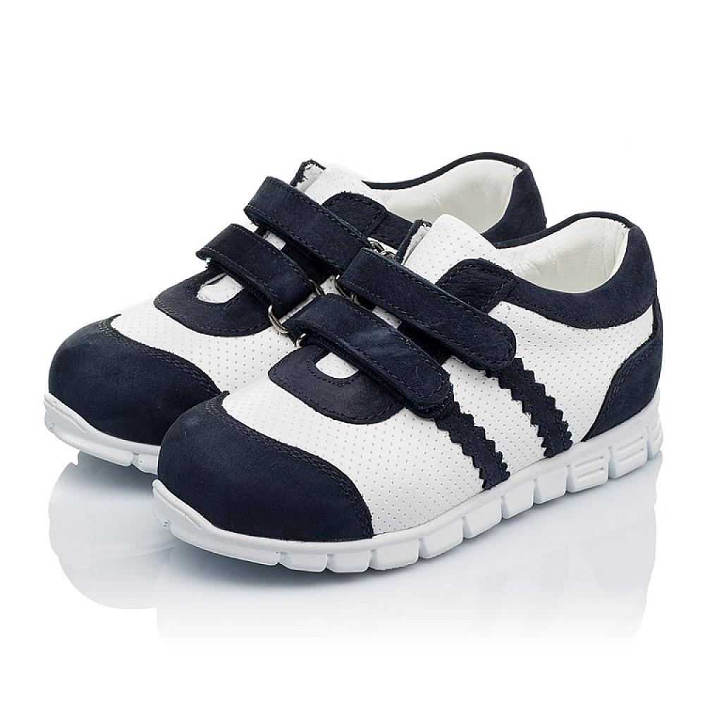 Детские кроссовки Woopy Orthopedic белые, темно-синие для девочек натуральная кожа и нубук размер 18-25 (3344) Фото 3