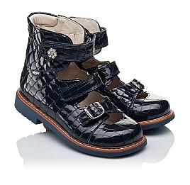 Детские ортопедические туфли (с высоким берцем) Woopy Orthopedic синие для девочек натуральная лаковая кожа размер 30-36 (3351) Фото 1
