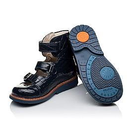 Детские ортопедические туфли (с высоким берцем) Woopy Orthopedic синие для девочек натуральная лаковая кожа размер 30-36 (3351) Фото 2