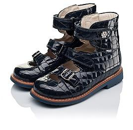 Детские ортопедические туфли (с высоким берцем) Woopy Orthopedic синие для девочек натуральная лаковая кожа размер 30-36 (3351) Фото 3
