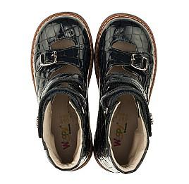 Детские ортопедические туфли (с высоким берцем) Woopy Orthopedic синие для девочек натуральная лаковая кожа размер 30-36 (3351) Фото 5