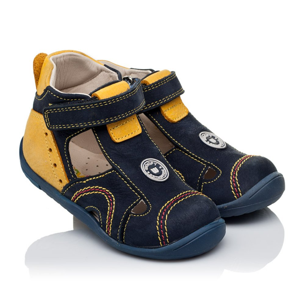 Детские закрытые босоножки Woopy Orthopedic темно-синие, желтые для мальчиков натуральный нубук размер 18-25 (3353) Фото 1