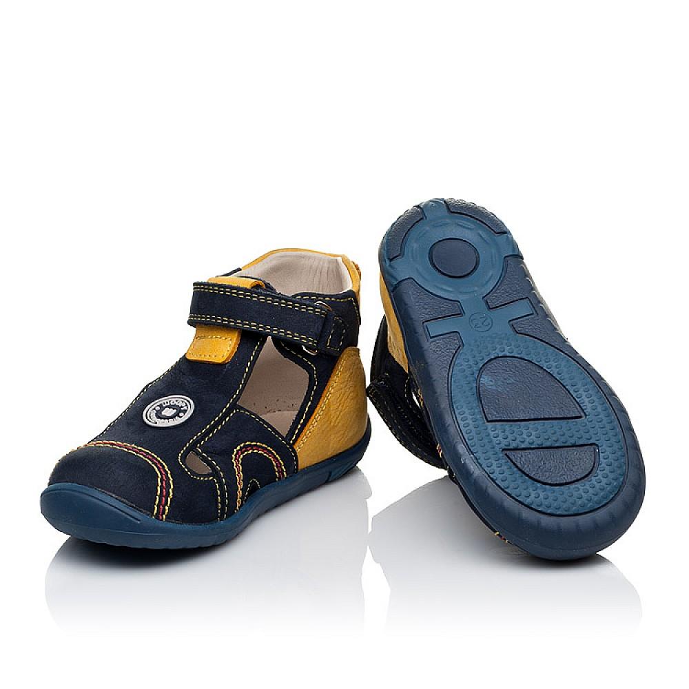 Детские закрытые босоножки Woopy Orthopedic темно-синие, желтые для мальчиков натуральный нубук размер 18-25 (3353) Фото 2
