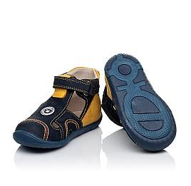 Детские закрытые босоножки Woopy Orthopedic темно-синие, желтые для мальчиков натуральный нубук размер 18-19 (3353) Фото 2