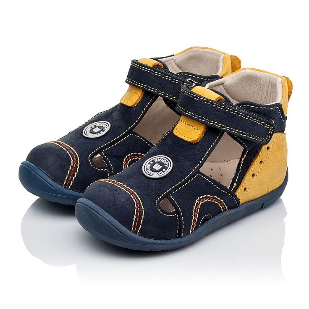 Детские закрытые босоножки Woopy Orthopedic темно-синие, желтые для мальчиков натуральный нубук размер 18-25 (3353) Фото 3