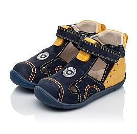 Детские закрытые босоножки Woopy Orthopedic темно-синие, желтые для мальчиков натуральный нубук размер 18-19 (3353) Фото 3