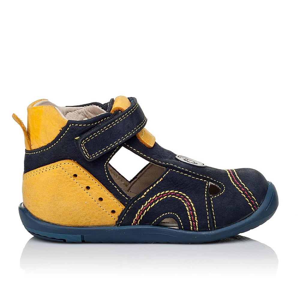 Детские закрытые босоножки Woopy Orthopedic темно-синие, желтые для мальчиков натуральный нубук размер 18-25 (3353) Фото 4