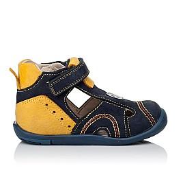 Детские закрытые босоножки Woopy Orthopedic темно-синие, желтые для мальчиков натуральный нубук размер 18-19 (3353) Фото 4