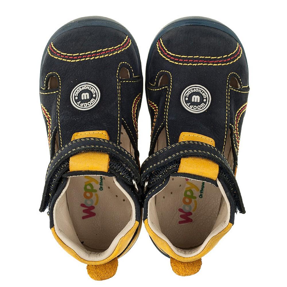 Детские закрытые босоножки Woopy Orthopedic темно-синие, желтые для мальчиков натуральный нубук размер 18-25 (3353) Фото 5