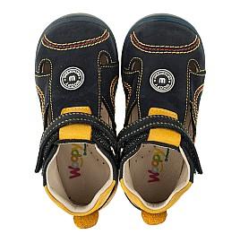 Детские закрытые босоножки Woopy Orthopedic темно-синие, желтые для мальчиков натуральный нубук размер 18-19 (3353) Фото 5
