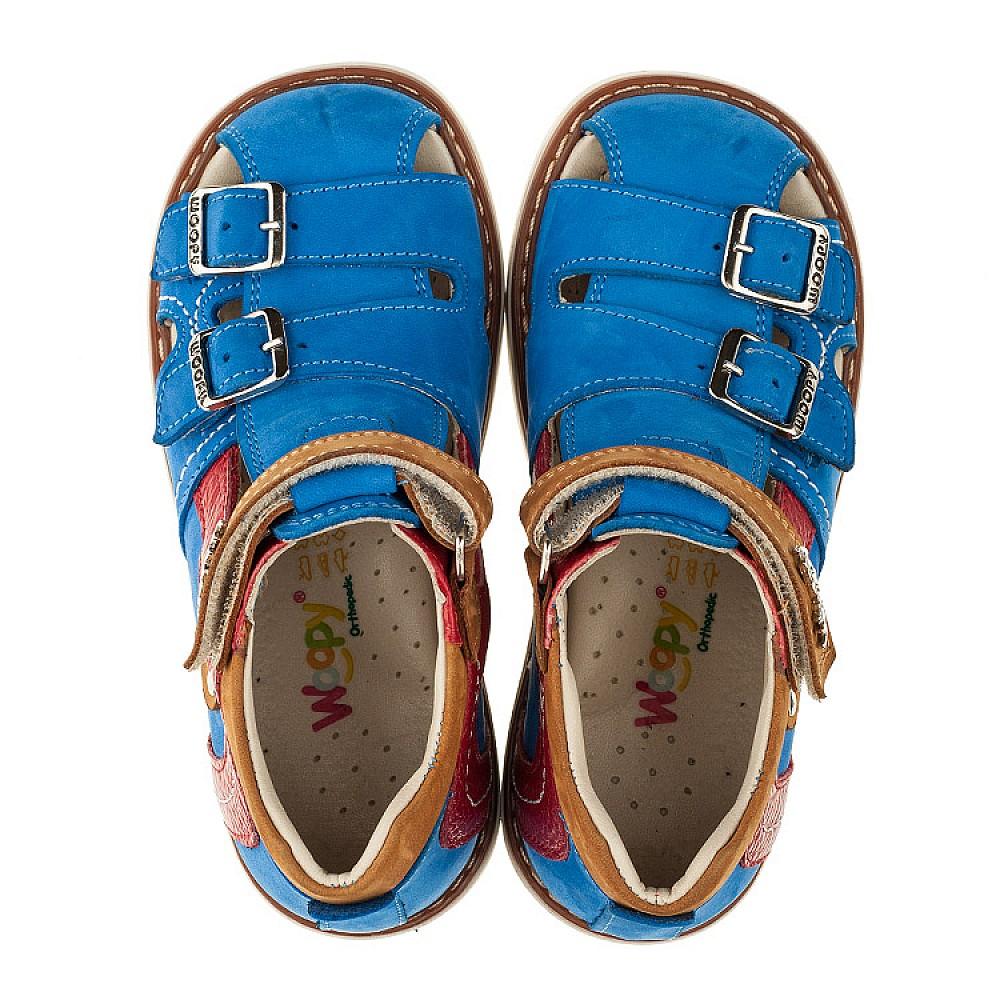 Детские закрытые ортопедические босоножки Woopy Orthopedic голубые для мальчиков натуральный нубук размер 20-30 (3356) Фото 5