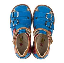 Детские закрытые ортопедические босоножки Woopy Orthopedic голубые для мальчиков натуральный нубук размер 20-20 (3356) Фото 5