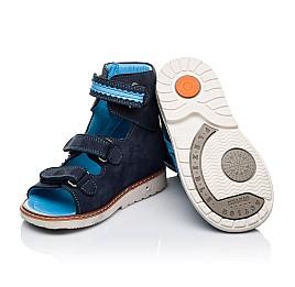Детские ортопедичні босоніжки (з високим берцем) Woopy Orthopedic темно-синие для мальчиков натуральный нубук размер 18-23 (3372) Фото 2