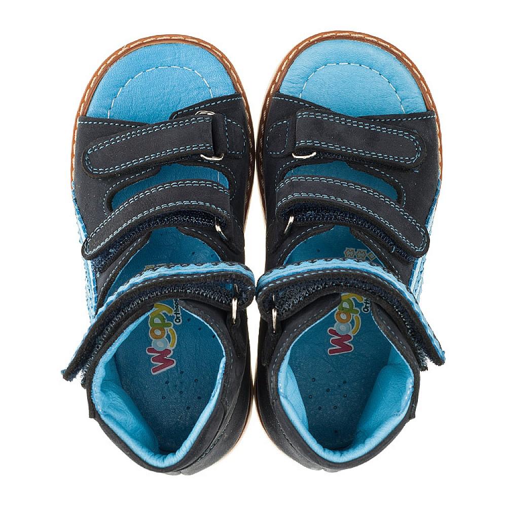 Детские ортопедические босоножки (с высоким берцем) Woopy Orthopedic темно-синие для мальчиков натуральный нубук размер 18-30 (3372) Фото 5