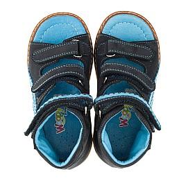 Детские ортопедические босоножки (с высоким берцем) Woopy Orthopedic темно-синие для мальчиков натуральный нубук размер 18-22 (3372) Фото 5