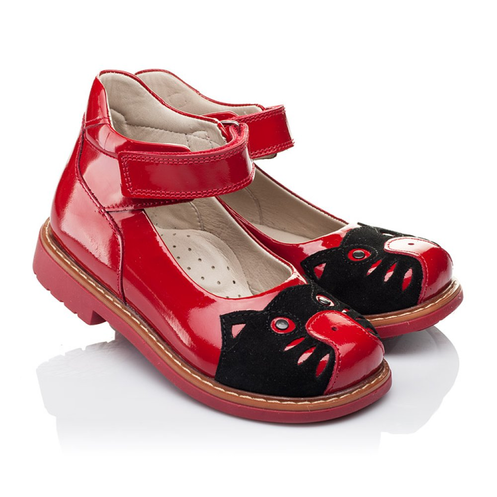 Детские туфли ортопедические Woopy Orthopedic красные для девочек натуральная лаковая кожа размер 21-30 (3378) Фото 1