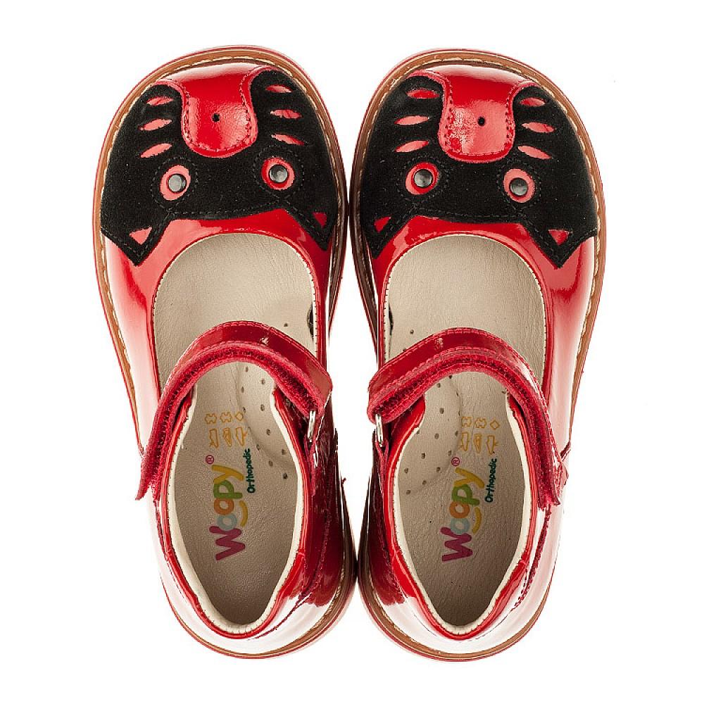 Детские туфли ортопедические Woopy Orthopedic красные для девочек натуральная лаковая кожа размер 21-30 (3378) Фото 5