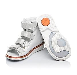 Детские ортопедические босоножки (с высоким берцем) Woopy Orthopedic белые, серебро для девочек натуральная кожа размер - (3379) Фото 2