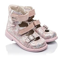 Детские ортопедические туфли (с высоким берцем) Woopy Orthopedic розовые для девочек  натуральная кожа размер 26-34 (3382) Фото 1