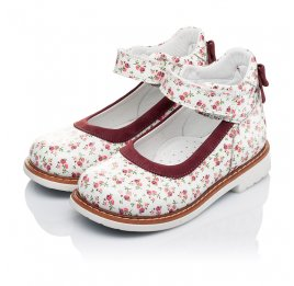 Детские туфлі ортопедичні Woopy Orthopedic белые,бордовые для девочек натуральные кожа и нубук размер 23-23 (3388) Фото 3