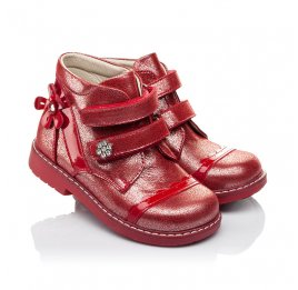 Детские демисезонные ботинки (подкладка кожа) Woopy Orthopedic красные для девочек натуральная кожа размер 18-18 (3417) Фото 1