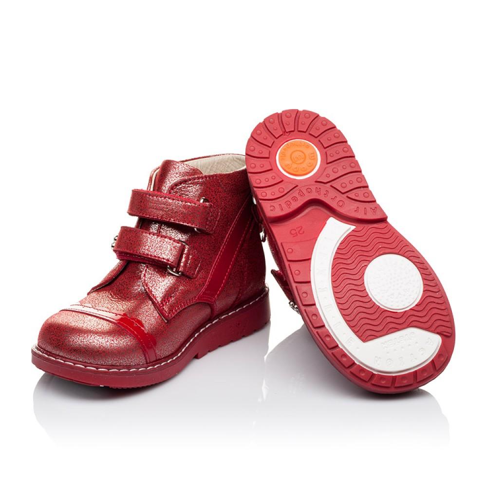 Детские демисезонные ботинки (внутри кожа) Woopy Orthopedic красные для девочек натуральная кожа размер 18-25 (3417) Фото 2
