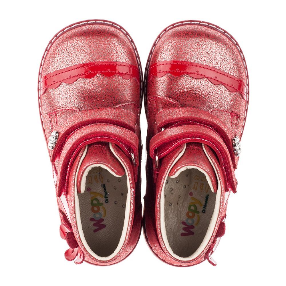 Детские демисезонные ботинки (внутри кожа) Woopy Orthopedic красные для девочек натуральная кожа размер 18-25 (3417) Фото 5