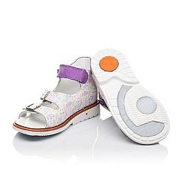 Детские ортопедические босоножки Woopy Orthopedic белые, фиолетовые для девочек натуральная кожа размер - (3419) Фото 2