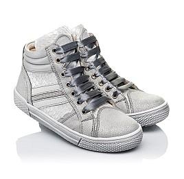 Детские демисезонные ботинки (внутри кожа) Woopy Orthopedic серебряные для девочек натуральная кожа размер 29-40 (3432) Фото 1