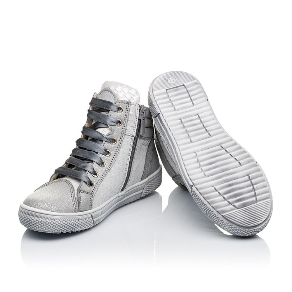 Детские демисезонные ботинки (внутри кожа) Woopy Orthopedic серебряные для девочек натуральная кожа размер 29-40 (3432) Фото 2