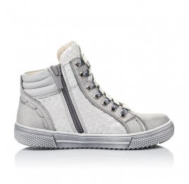 Детские демисезонные ботинки (внутри кожа) Woopy Orthopedic серебряные для девочек натуральная кожа размер 29-40 (3432) Фото 5