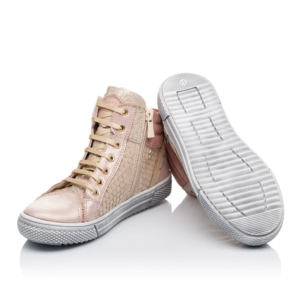 Детские демисезонные ботинки (внутри кожа) Woopy Orthopedic пудровые для девочек натуральная кожа размер 29-39 (3433) Фото 2